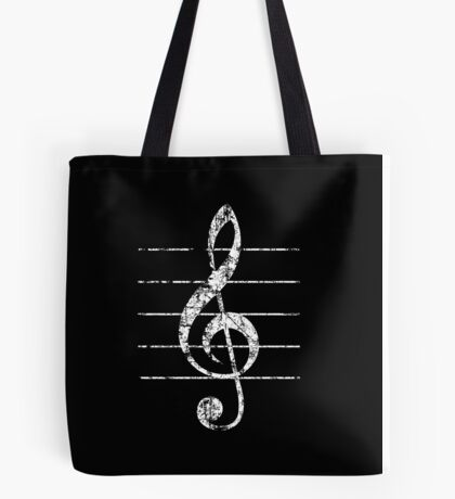 G-Clef, Treble Clef with Lines Vintage White Tote Bag