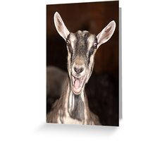 """I'm Baaaad"" - goat has goofy expression Greeting Card"