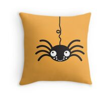 Cute hanging spider for Halloween Throw Pillow