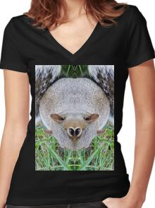 Mutant Squirrel  Women's Fitted V-Neck T-Shirt