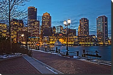 Harbor View After Dark - Boston, MA by Stephen Cross Photography