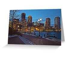 Harbor View After Dark - Boston, MA Greeting Card