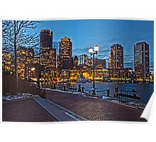 Harbor View After Dark - Boston, MA Poster