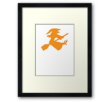 Cute flying witch on a broomstick Framed Print