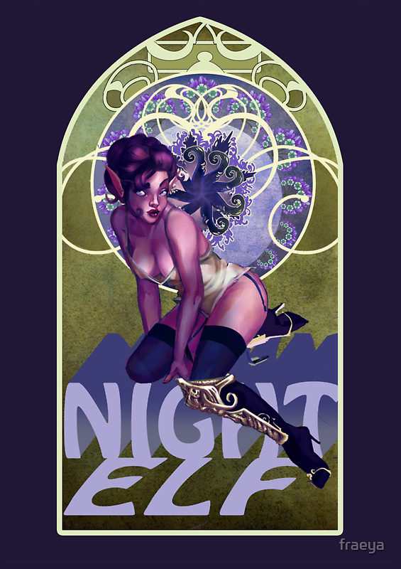 Night Elf Pinup by fraeya