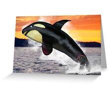 Eggplant Orca Whale Greeting Card