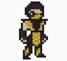 Mortal Kombat Pixel Art Scorpion Kids Tee