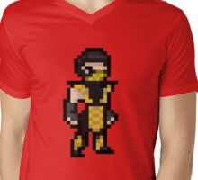 Mortal Kombat Pixel Art Scorpion Mens V-Neck T-Shirt
