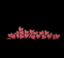 Hearts warming black background by Melanie Moor