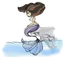 Lonely Mermaid in colour - Scribbler by Lauren Eldridge-Murray