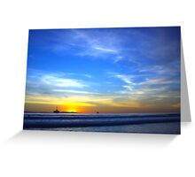 Blue Sea and Sky - Huntington Beach CA Greeting Card