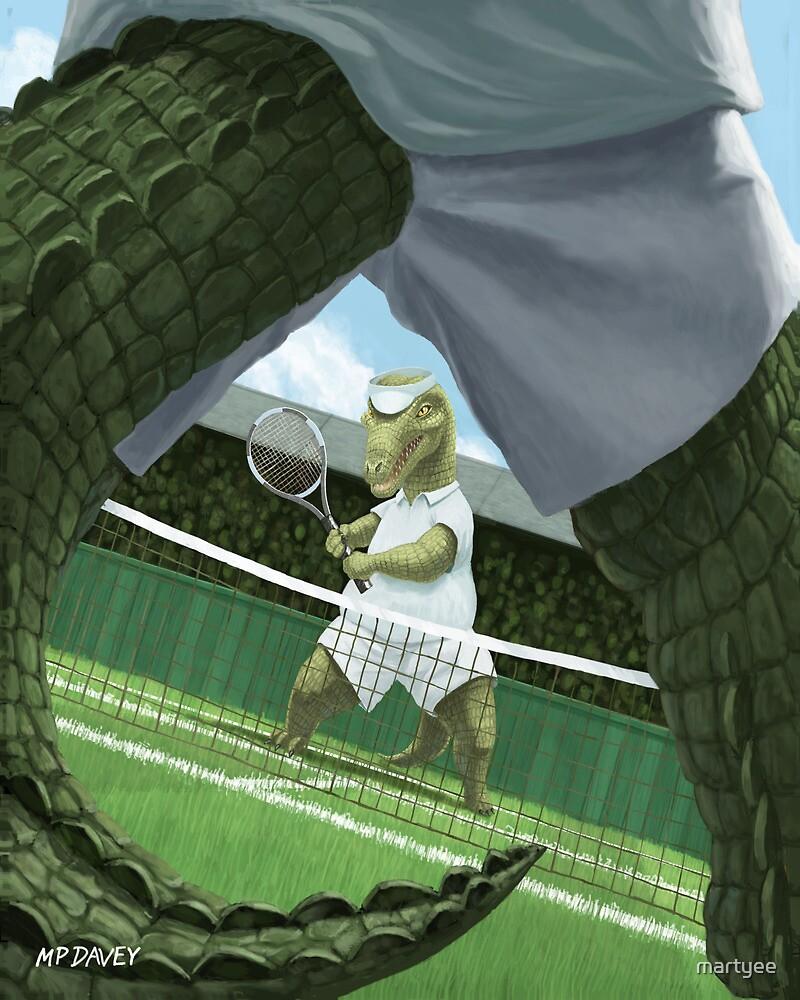 crocodiles playing tennis  by martyee