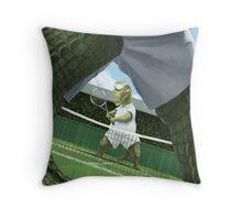 crocodiles playing tennis  Throw Pillow