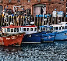 Crab Boats, Scarborough. by Colin Metcalf
