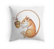 Mouse with acorn Throw Pillow