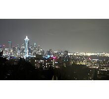 Seattle Skyline at Night from Kerry Park Photographic Print