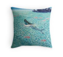 Mermaid against the Tide Throw Pillow