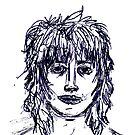Self portrait in Biro by Ben Cresswell