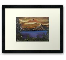 Mountain View done with only a fan brush Framed Print