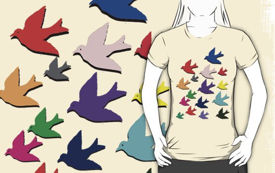 'Birds in Flight' T-Shirt by Mike Paget