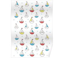 Little Sailboats Simple Poster