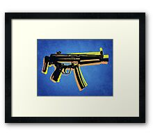 MP5 Sub Machine Gun on Blue Framed Print