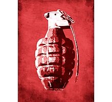 Hand Grenade on Red Photographic Print