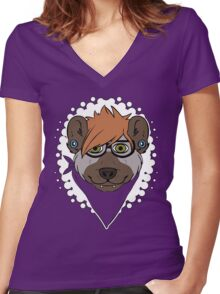 HIPSTER HYENA Women's Fitted V-Neck T-Shirt