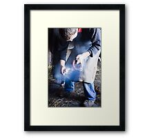Farrier measuring hot shoe for size Framed Print