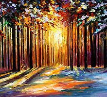 The Sun of january - original oil painting on canvas by Leonid Afremov by Leonid  Afremov