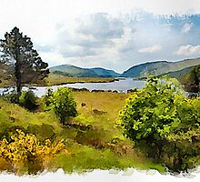 Lough Veagh watercolour by PhotosByHealy