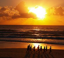 Early morning Boot Camp at Sunrise - Main Beach by trudybarrie