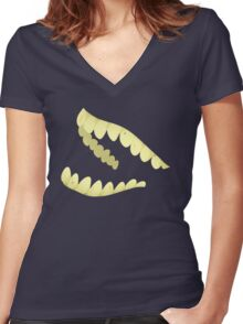 Floating Teeth Women's Fitted V-Neck T-Shirt