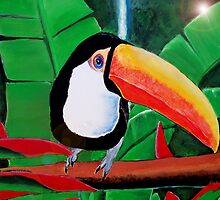 Toucan Bird South American Wildlife Amazon Jungle Rainforest Acrylic painting by Rick Short
