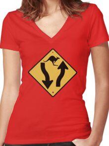 Kangaroo! Women's Fitted V-Neck T-Shirt