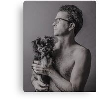 Man With A Dog Canvas Print