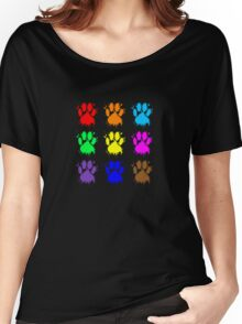 Ink Splatter Dog Paw Pattern Women's Relaxed Fit T-Shirt