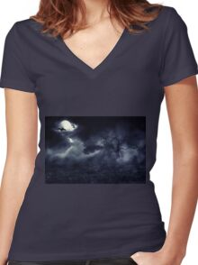 Moon over Field Women's Fitted V-Neck T-Shirt