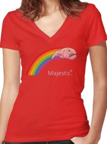 Majestic Blobfish Women's Fitted V-Neck T-Shirt
