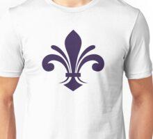 A simple fleur-de-lis pattern in purple Unisex T-Shirt