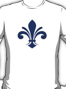 A simple fleur-de-lis pattern in blue T-Shirt
