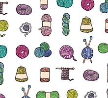 Balls of Yarn - Knitting Watercolor by chargingrhinos