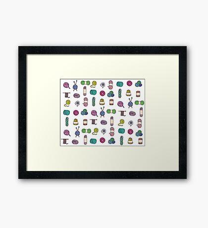 Balls of Yarn - Knitting Watercolor Framed Print