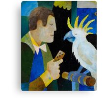 HE THOUGHT HE WAS A BABY BUDGIE Canvas Print