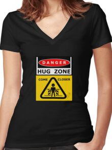 Danger - HUG ZONE! Women's Fitted V-Neck T-Shirt