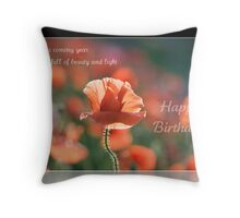 Birthday wishes of beauty and light Throw Pillow