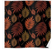 Palm multicolored leaves on black background. Poster