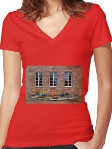 Delgatie Castle From the Backyard (near Turriff, in Aberdeenshire, Scotland) Women's Fitted V-Neck T-Shirt