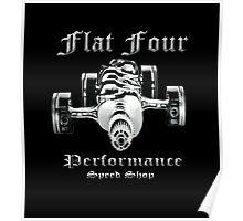 Flat Four Performance dark background Poster