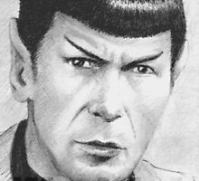 Leonard Nimoy as Spock ACEO mini- portrait by wu-wei